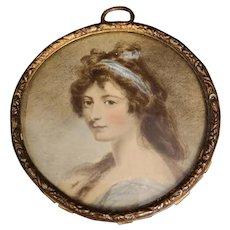Antique Victorian miniature portrait