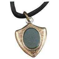 Antique gold locket, shield fob, sardonyx and bloodstone