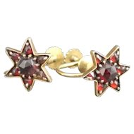 Antique bohemian garnet star earrings, 9kt gold
