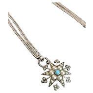 Antique silver star pendant and guard chain