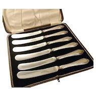 Vintage silver handled cake knives