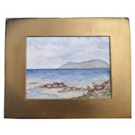 Antique watercolour painting, coastal scene