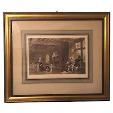 Antique family print, Victorian, Feering House