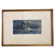 Antique watercolour painting, dusk mountain scene