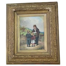 Antique oil painting, children and ferrets, gilt frame