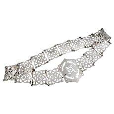 Antique silver plated belt, pierced