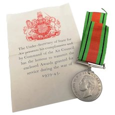 Vintage WW2 medal, The Defence medal