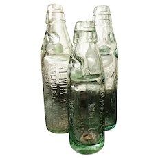 Antique codd bottles, set of 3, Victorian