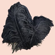 Antique Victorian black ostrich feathers, millinery