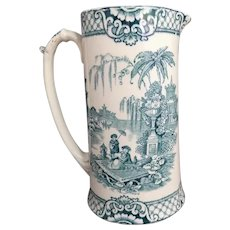 Large Antique Blue and White Transferware pitcher