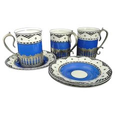 Antique demitasse set, George Jones, China and silver plate