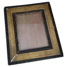 Antique oak and gesso picture frame