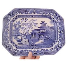 Vintage blue and white platter, Burleigh Ware, Willow pattern