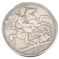 Victorian silver crown, George and the dragon, LXI
