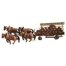 Vintage 1920's brewery advertising horse and cart, Lowenbrau