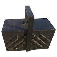 Rustic antique sewing box, concertina