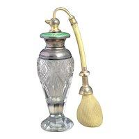 Vintage Art Deco, sterling silver and guilloche enamel scent bottle