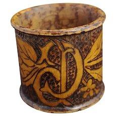 Antique Art Nouveau pyrography napkin ring, D