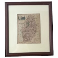 Antique Map of Nottinghamshire, framed