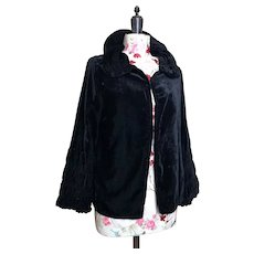 Vintage 20s Black silk velvet ruched jacket