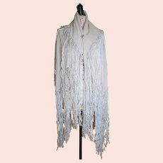 Antique Edwardian silk shawl, long tassles