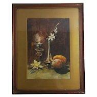 Antique watercolour, still life, framed