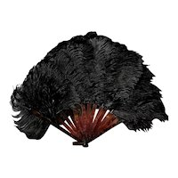 Vintage 20's Black ostrich feather fan, Art Deco