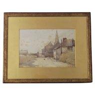 Antique watercolour painting, village scene