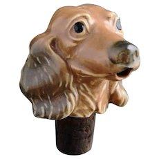 Vintage 30's ceramic dog bottle pourer, stopper