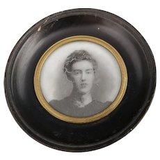 Antique ebony frame, Victorian lady