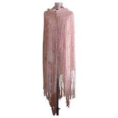 Vintage 20's pink devore shawl, silk velvet