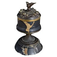 Antique French bronze and marble dove inkwell