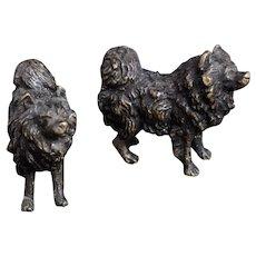 Antique bronze dog miniatures, pair