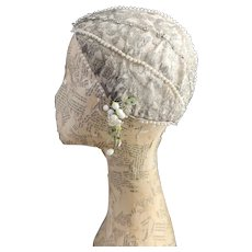 Vintage 1920's skull cap, lace and paste