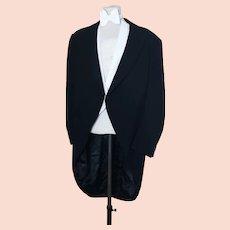 Gents 1950's Herringbone tailcoat, Moss Bros
