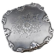 Vintage 50's silver floral compact