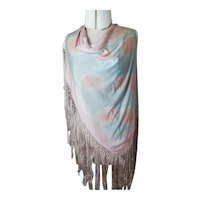 Vintage 1920's blue and pink Celanese shawl