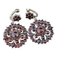 Antique Bohemian garnet drop earrings