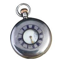 Antique sterling silver half hunter pocket watch, lever watch
