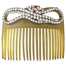 Antique Victorian paste hair comb, snake