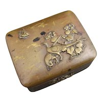 Antique Japanese copper and brass snuff box