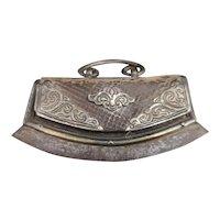 Antique Tibetan flint pouch, silver and leather Chuckmuck