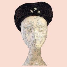 Vintage 30's velvet headband, French hood style