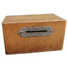 Antique miniature coin bank, oak