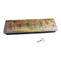 Antique Edwardian pencil box with key