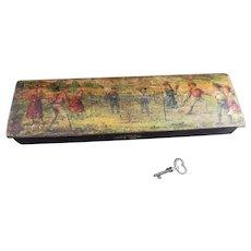 Antique Edwardian pencil box with key