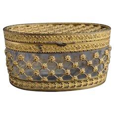 Antique gilt jewellery casket, box