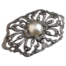 Vintage silver and marcasite brooch