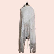 Antique cotton shawl, embroidered, Edwardian