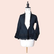 Victorian black silk mourning blouse, Jet and Lace